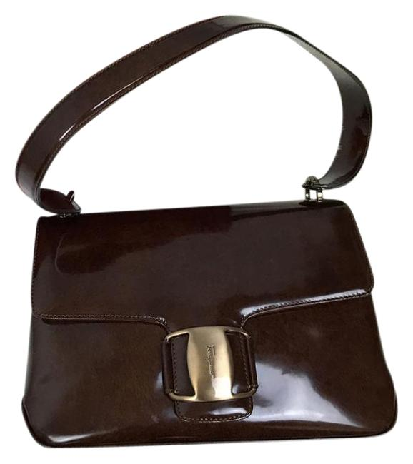 Salvatore Ferragamo Brown Patent Leather Shoulder Bag Image 1