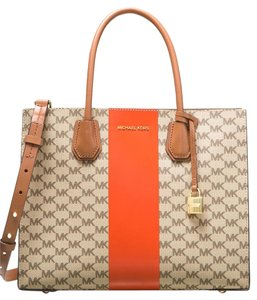 Michael Kors Tote in Natural with orange stripe