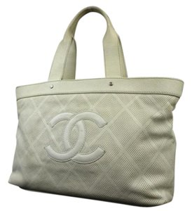 Chanel Gst Neverfull Perforated Drill Tote in White