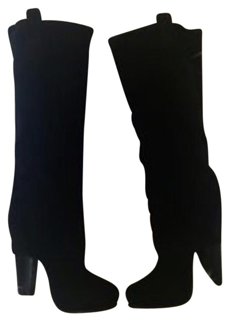 Ash Black Suede Eden Foldover Tall Boots/Booties Size US 6 Regular (M, B) Image 1