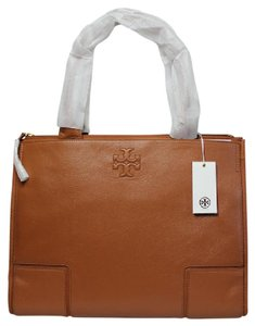 Tory Burch Leather Large Logo Summer Tote in Tan