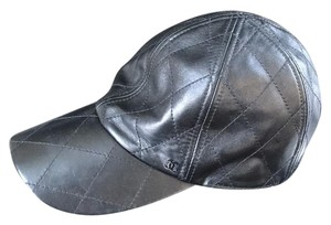 Chanel black leather quilted baseball cap hat Sz small
