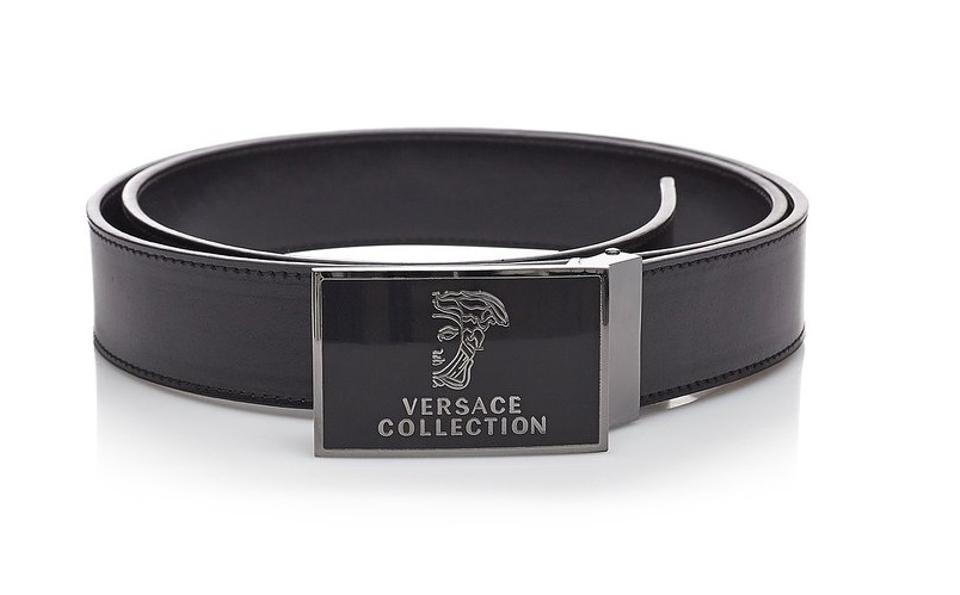Versace Collection Versace Collection Black Leather Medusa Adjustable Belt  173 ... fbb6f160c67