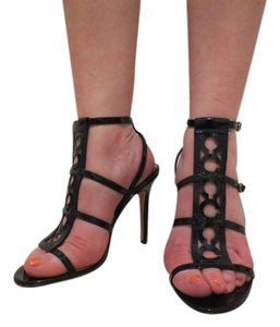 Coach Worn High Heel Patent Leather Black Sandals
