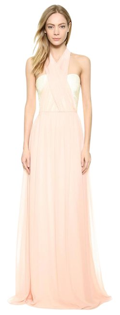 Joanna August Pink and White Lace/Chiffon. Polyester Ceremony By Convertible Formal Bridesmaid/Mob Dress Size 6 (S) Image 1