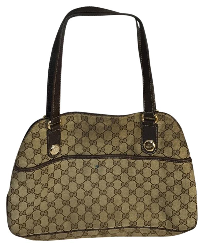 fcb5f4299045 Gucci Monogram Brown and Tan Canvas Tote - Tradesy