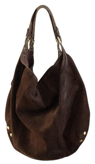 Slouchy Brown Suede Leather Hobo Bag