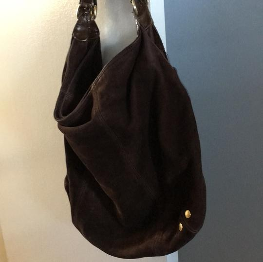 London Fog Suede Leather Slouchy Hobo Bag Image 3