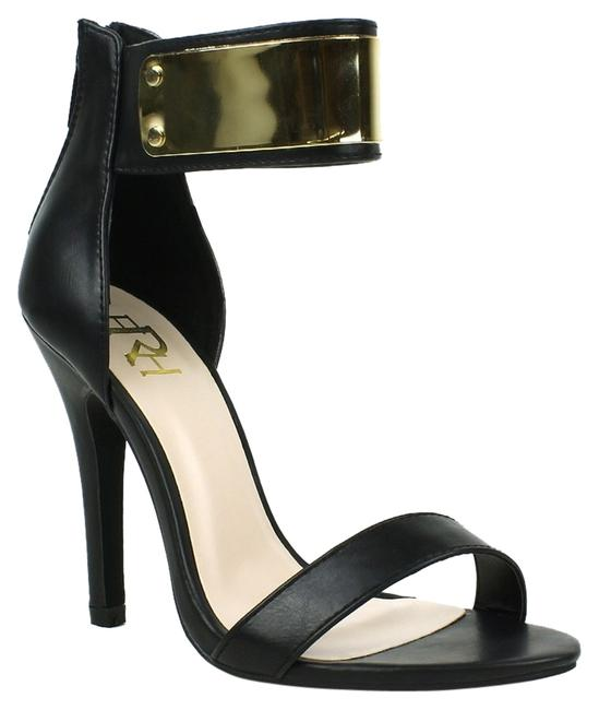Item - Black / Gold Strap Barely There Heels Sandals Size US 6.5 Regular (M, B)