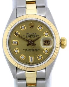 Rolex LADIES ROLEX DATEJUST 2-TONE DIAMOND DIAL WATCH WITH OYSTER BAND