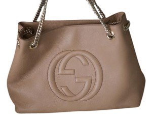 Gucci Soho Leather Italy Tote in beige