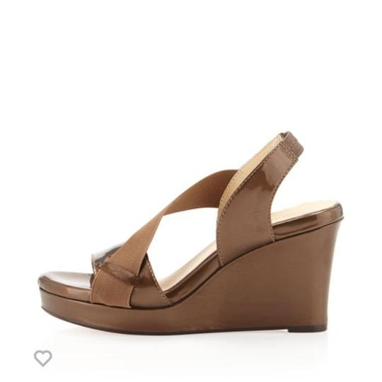 Taryn Rose Patent Comfortable Bronze Wedges