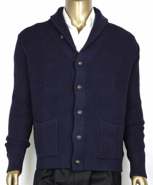 Polo Ralph Lauren Blue L Men's Cotton Shawl Cardigan Sweater Navy 0186171 Wgb Groomsman Gift Polo Ralph Lauren Blue L Men's Cotton Shawl Cardigan Sweater Navy 0186171 Wgb Groomsman Gift Image 1