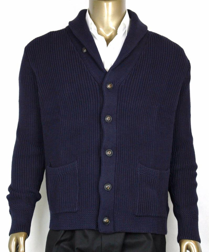 b6897e131bd40 Polo Ralph Lauren Blue Men s Cotton Shawl Cardigan Sweater Navy L 0186171  Wgb Groomsman Gift Image ...
