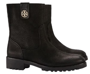 Tory Burch Chelsea Leather Monogram Black Boots