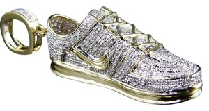 Other Men's 10K Solid Yellow Gold Genuine Diamond Air force One Shoe Pendant