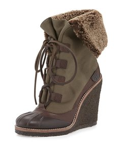 Tory Burch Fairfax Olive Green Wedges
