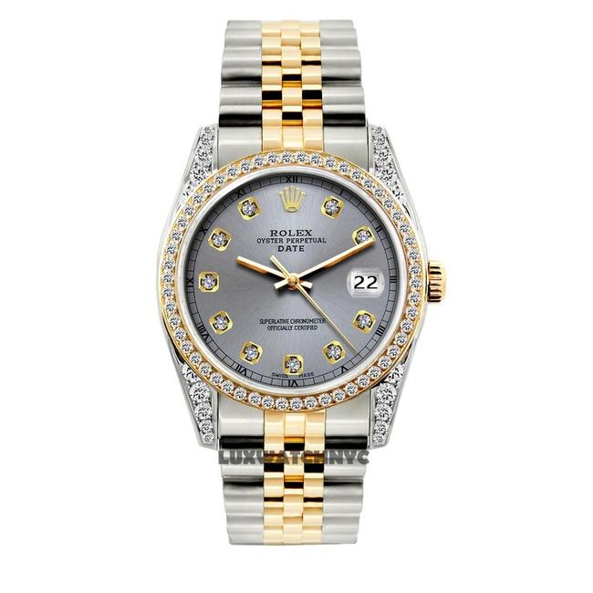 Rolex Gray Dial 2ct 34mm Date 2-tone with Appraisal Watch Image 1