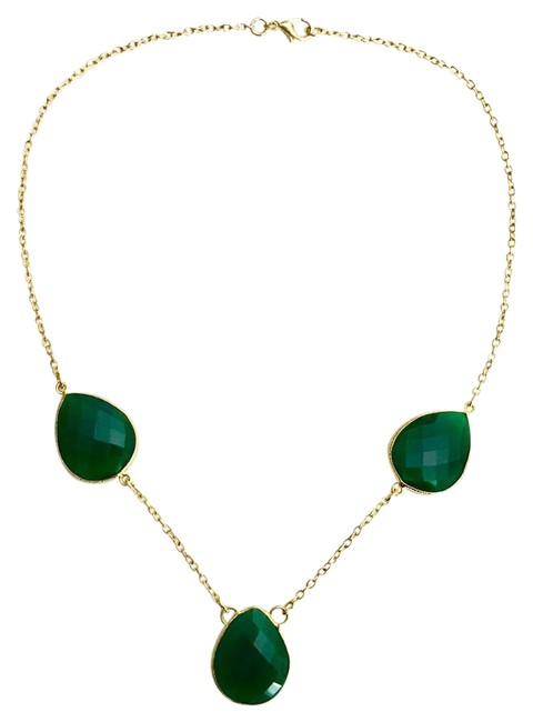 Green Agate Station Necklace Green Agate Station Necklace Image 1