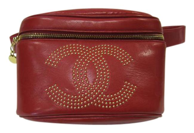 Item - Studded Monogram On Front Red Leather Messenger Bag