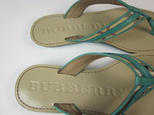 Burberry Blue Nova House Gold Leather Turquoise Sandals