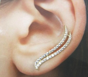 Other 14 KT Solid (not plated) Yellow Gold (CZ) Ear clip cuffs Earring