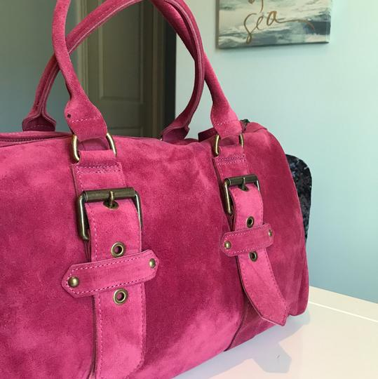 Longchamp Suede Kate Moss Duffle Satchel in Pink Image 3