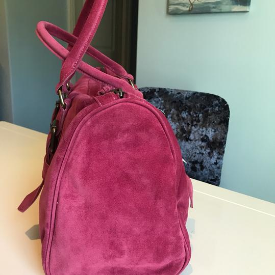 Longchamp Suede Kate Moss Duffle Satchel in Pink Image 4