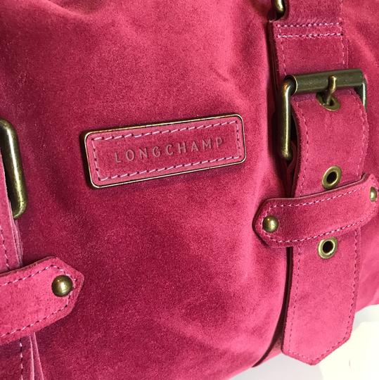 Longchamp Suede Kate Moss Duffle Satchel in Pink Image 5