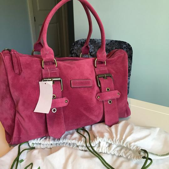 Longchamp Suede Kate Moss Duffle Satchel in Pink Image 8