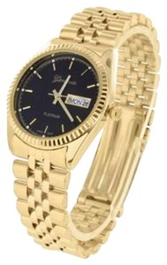 Geneva Mens Black Dial Watch Presidential Style 14k Gold Tone Luxury Style