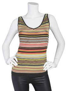 M Missoni Sleeveless Striped V-neck Top brown
