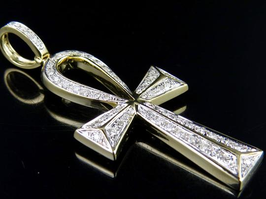 Jewelry Unlimited 10K Yellow Gold Egyptian Ankh Cross Real Diamond 2 Inch Pendant Charm Image 3
