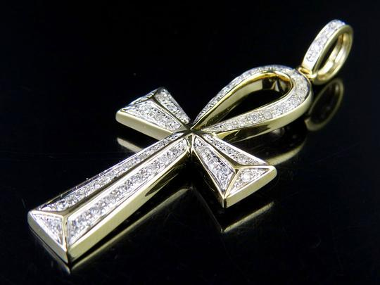 Jewelry Unlimited 10K Yellow Gold Egyptian Ankh Cross Real Diamond 2 Inch Pendant Charm Image 4