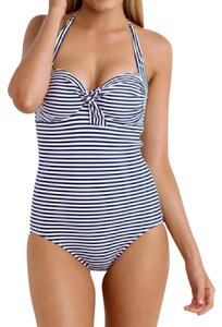 SeaFolly New SeaFolly Riviera Stripe Blue/White Halter One Piece Swimsuit SZ 12