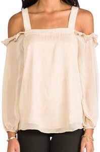 Vava by Joy Han Open Shoulder Cold Shoulder Beige Top taupe/nude