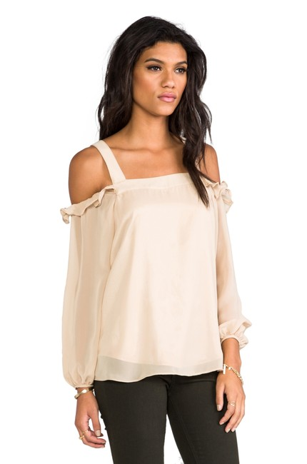 Vava by Joy Han Open Shoulder Cold Shoulder Beige Top taupe/nude Image 2