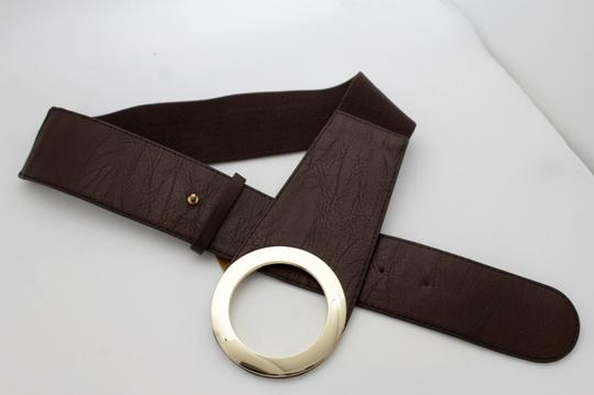 Other Women Brown Faux Leather Stretch Fabric Waistband Fashion Belt Gold Image 3
