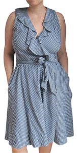 Ralph Lauren short dress Denim/white Sleeveless Wrap Stripes on Tradesy