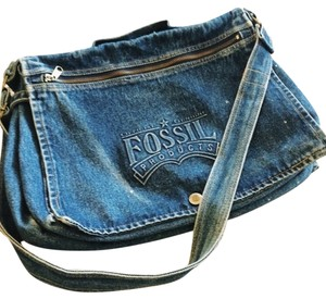 Fossil Rare Cotton Denim Double Blue Messenger Bag