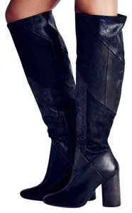 Free People Patchwork Column Heel Over The Knee Partial Side Zip Made In Portugal Black Boots