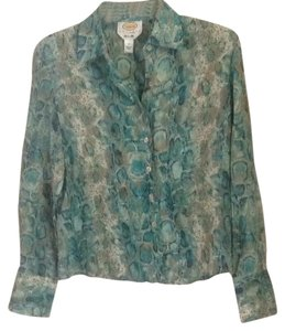 Talbots Button Down Shirt turquoise teal multi.