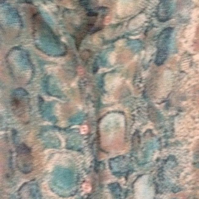 Talbots Button Down Shirt turquoise teal multi. Image 1