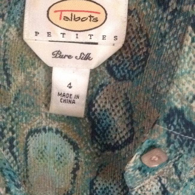 Talbots Button Down Shirt turquoise teal multi. Image 2