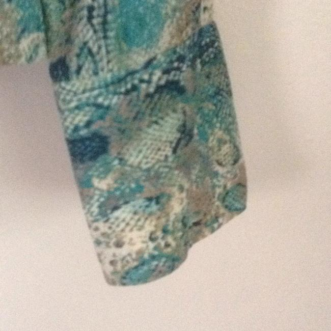 Talbots Button Down Shirt turquoise teal multi. Image 3