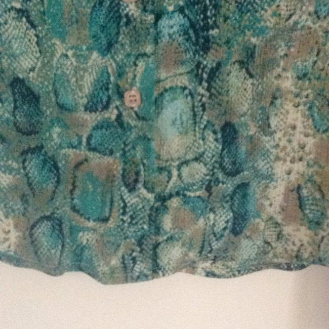 Talbots Button Down Shirt turquoise teal multi. Image 4