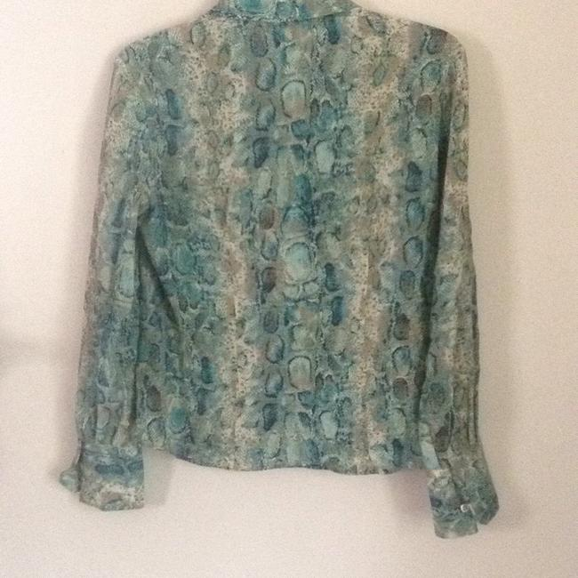 Talbots Button Down Shirt turquoise teal multi. Image 5