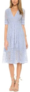 Blue Maxi Dress by Free People Fp Swingy Tunic Raw Floral Mesh Boho Festival Chic Short Sleeve V Neck Midi New