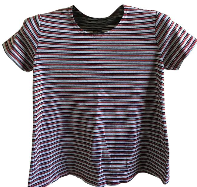 Item - Red Black and White Stripes Round Neck Short Sleeves Shirt Maternity Top Size 8 (M)