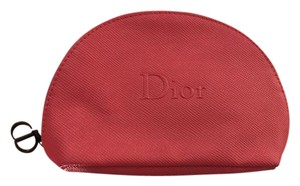 Dior Christian Dior Red Faux Leather Cosmetic / Makeup Bag / Case / Pouch